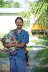 Tracey Herstich provides care in Haiti in October 2011