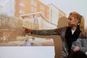 Parents get a look at the most recent architectural renderings of Akron Children's new critical care tower.
