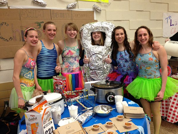 Members of the Copley's Girls' Swim Team concocted a hot chipotle chili - so hot they all came in their swim suits. The chef-swimmers are (L to R) Sydney Bailey, Hannah Blice, Mary Jo Talley, Laura Klions, Anna Signorino, and Brenda Prifti.