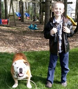 Jack, 7, with Diesel