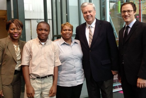 From left, Bernett L.Williams, vice president for external affairs, Charice Fort and her 12-year-old son, Caleb Thurman, CEO Bill Considine and Charlie Solley, government relations director.