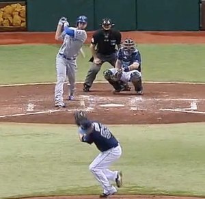 Alex Cobb of the Tampa Bay Rays is hit in the head by Eric Hosmer's 102-MPH line drive.
