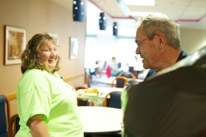 Susan Miller of Pathology jokes with Johnny Greathouse in the cafeteria