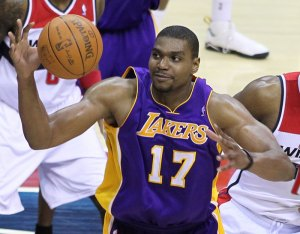 Andrew Bynum from 2012 when he played for the Lakers. Photo: Keith Allison / CC Flickr