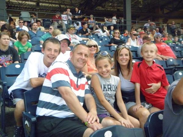 Weigand family at baseball game