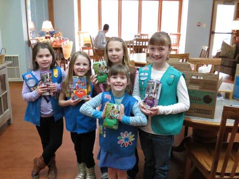 Pop tabs paid for a camera to take photos of the many generous visitors to the Ronald McDonald House. This image, which was posted on Facebook, shows Girl Scout Troop 2334, who donated Girl Scout cookies and handmade Easter place mats for the families staying at the house.