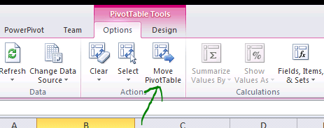 Pivot Table options Excel Move