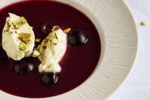 Cherry soup with mascarpone lime cream | insimoneskitchen.com