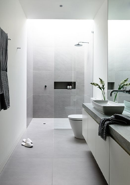 Ideas Baños Alargados:Grey and White Modern Bathroom Tile Ideas