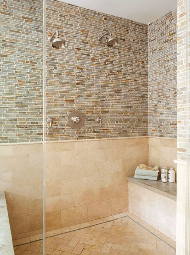 Azulejos Para Que El Baño Parezca Más Grande:azulejos grandes Es muy común la combinación de azulejos grandes