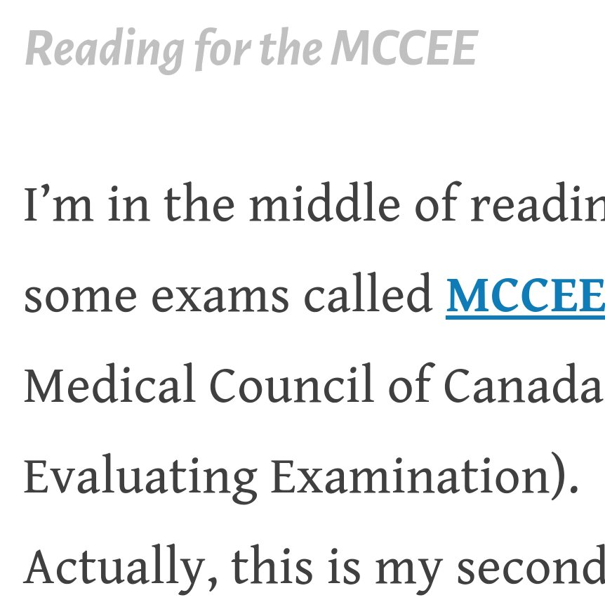 Reading for the MCCEE