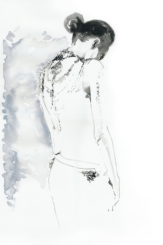 black and white watercolour