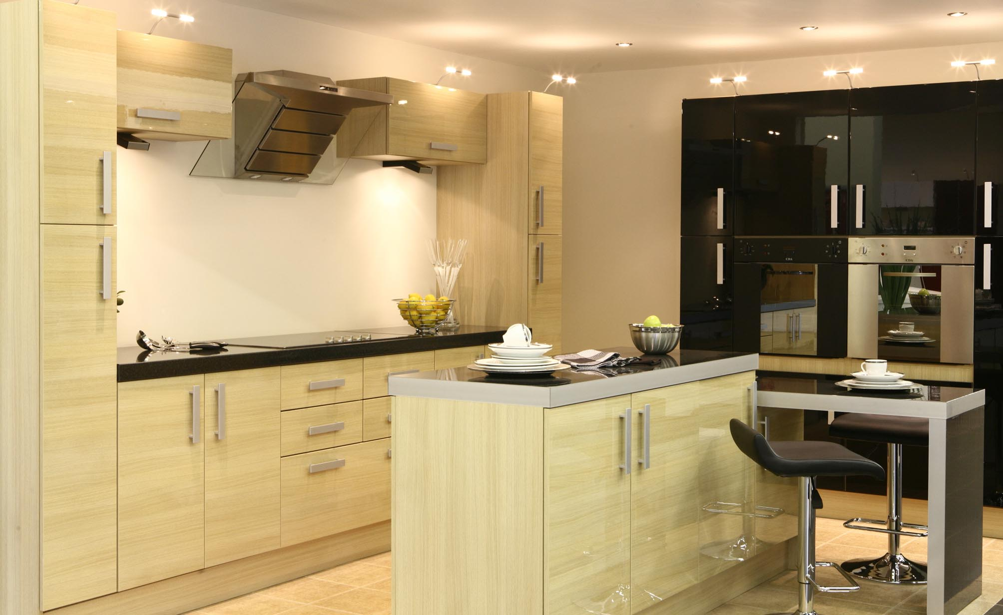 Small Kitchen Design with Wooden Furniture Wooden Island and Lighting Decoration