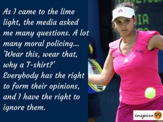 quote on opinion by sania mira, sania mirza inspirational quote and meaning