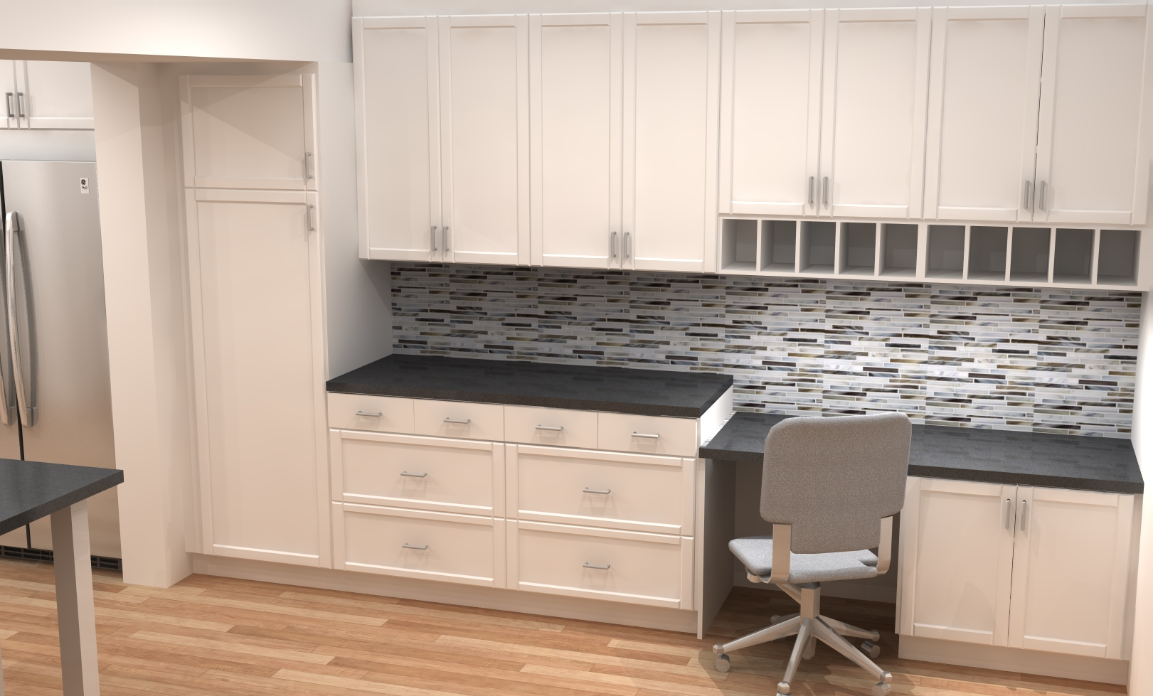 small kitchen remodel with ikea cabinets ikea kitchen remodel Desk area in white modern ADEL shaker IKEA kitchen