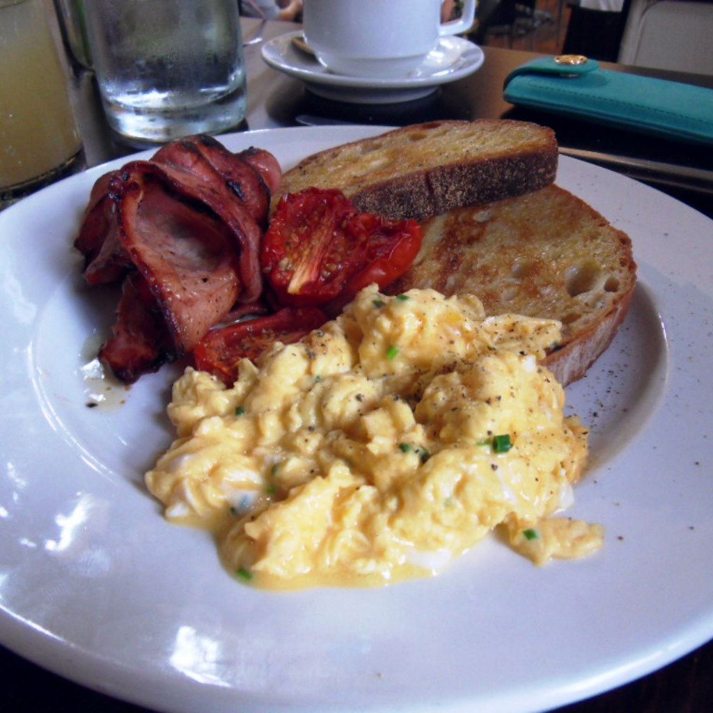 Bacon and scrambled eggs with oven roasted tomatoes on sourdough toast, The Hyde Park Barracks, Sydney