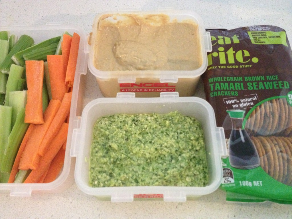 Hummus dip and spinach and feta dip
