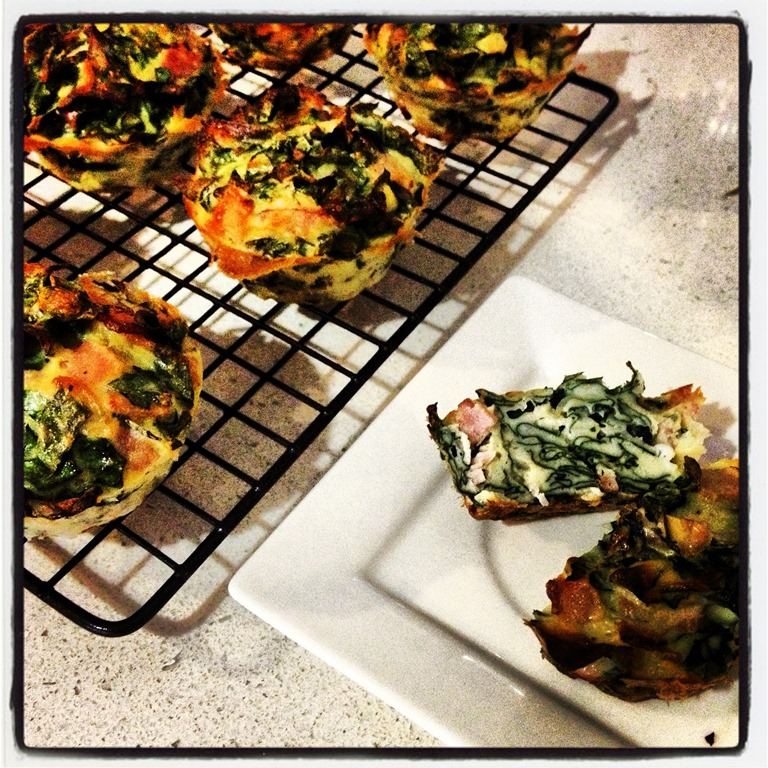 Cheese, bacon and spinach muffins