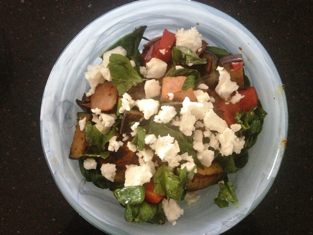 Bacon, chilli, capsicum, eggplant, pumpkin, spinach, feta and basil fry up