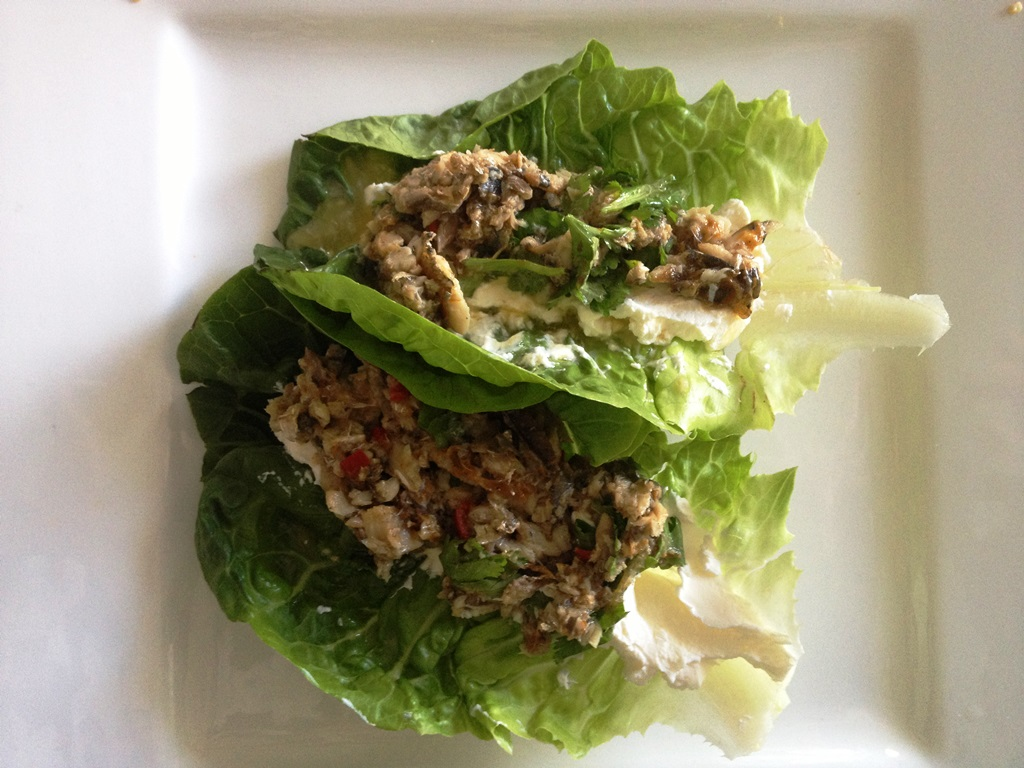 Sardine cos lettuce boats with cream cheese