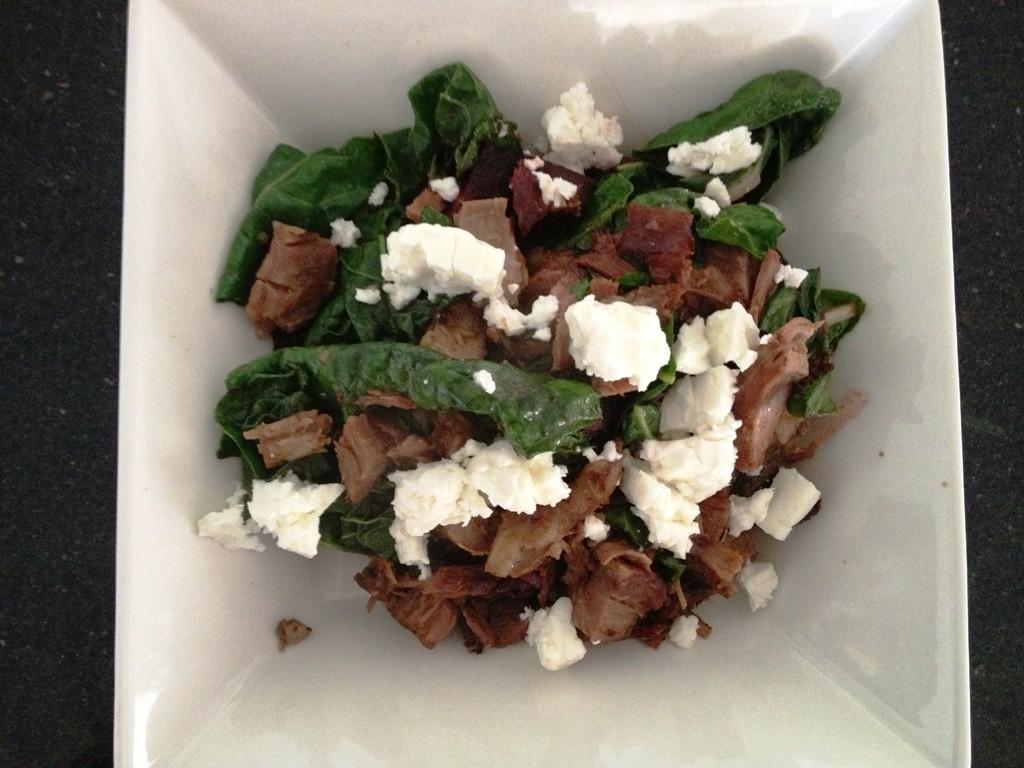 Lamb, spinach, beetroot and feta fry up