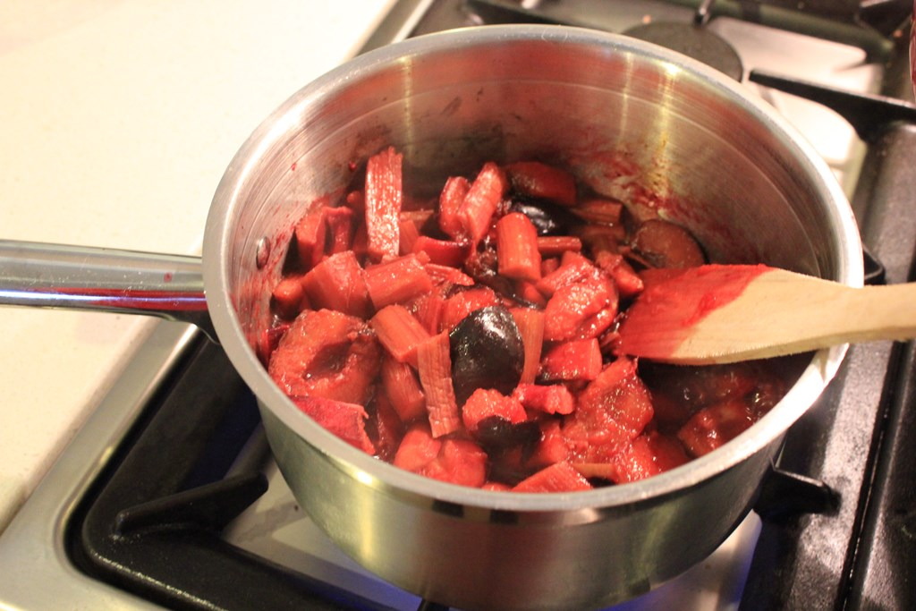 Sugar-free rhubarb and plum compote
