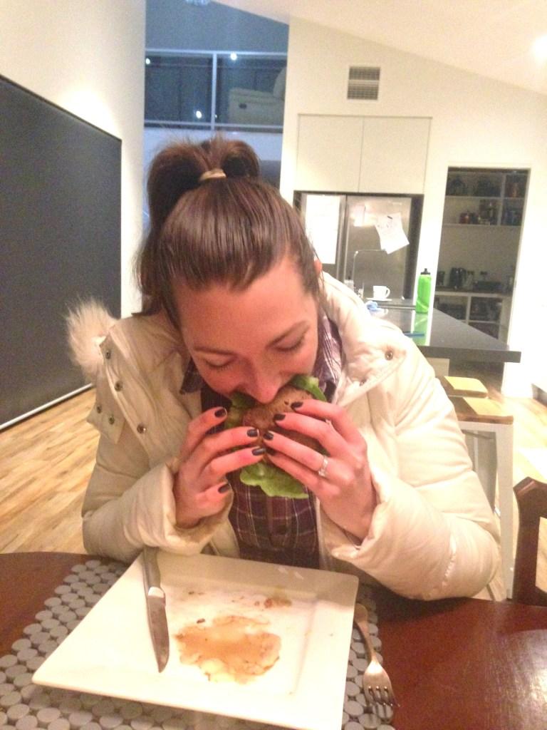 Downing a burger