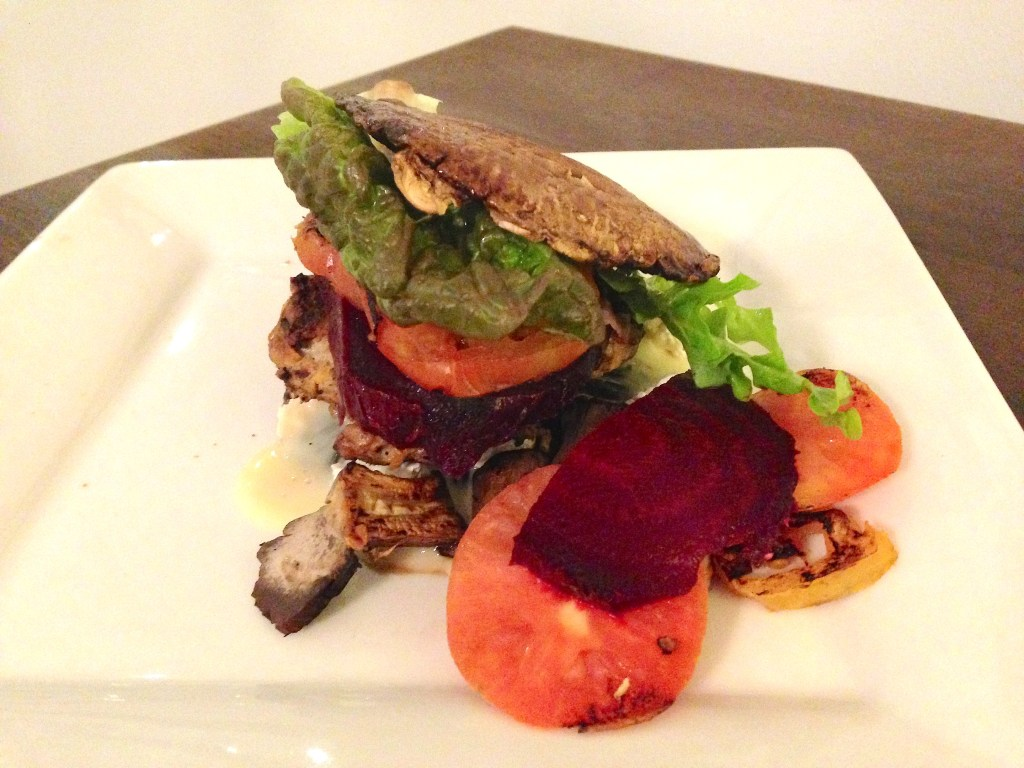 Pork and mushroom burger