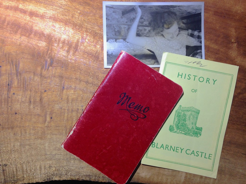 Nan's travel journal doesn't mention her trip to Blarney Castle, but I found among her souvenirs a booklet and a photograph of her kissing the Blarney Stone.