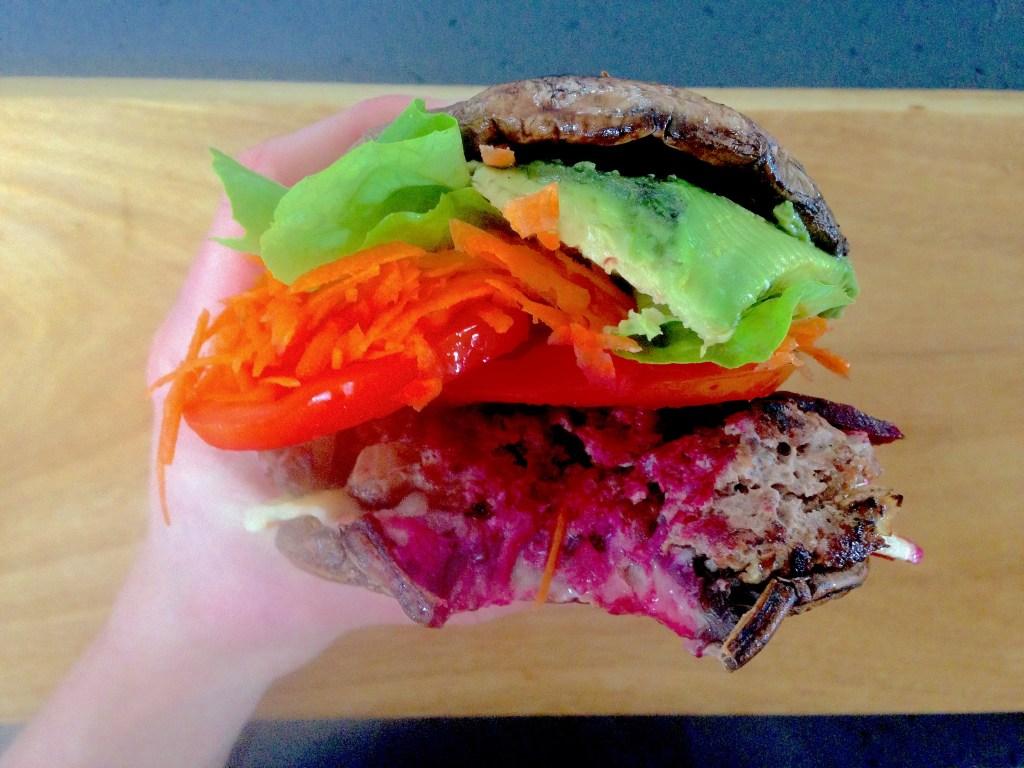 Gourmet beef and mushroom burger
