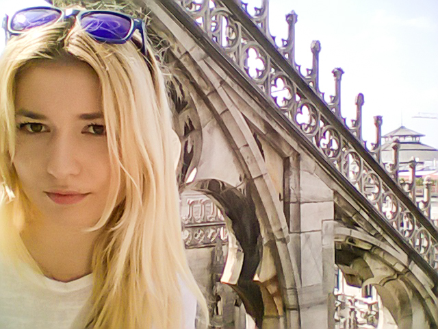 Selfie on the roof on Milan Cathedral