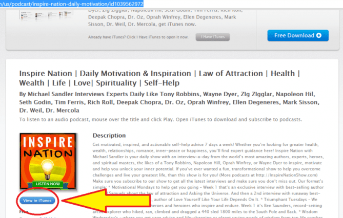 how-to-view-Inspire-Nation-Show-podcast-in-iTunes-store-button-location