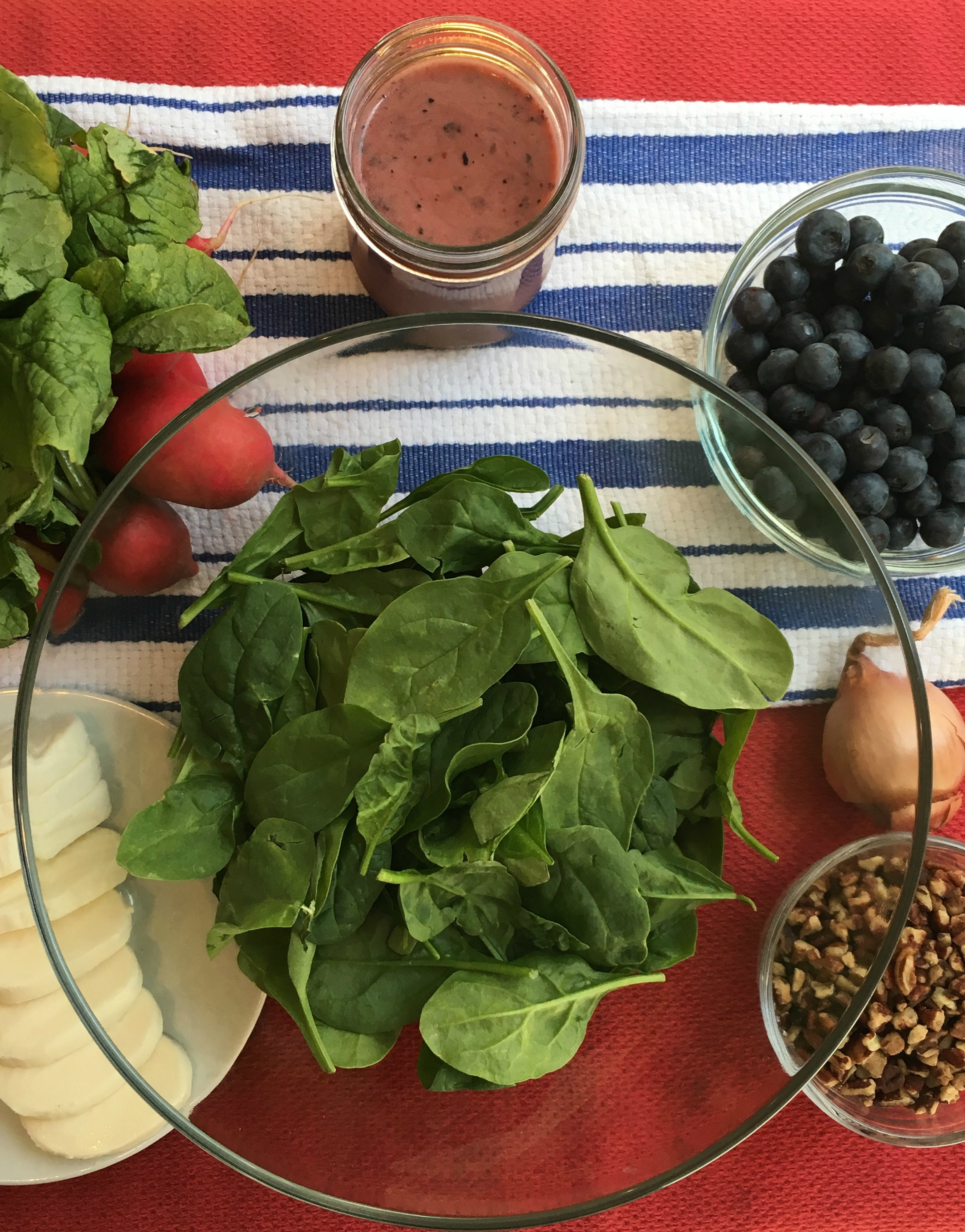 sweet and spicy spinach salad July 4th