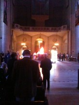Easter vigil at Grace Cathedral starting with the burning of wood