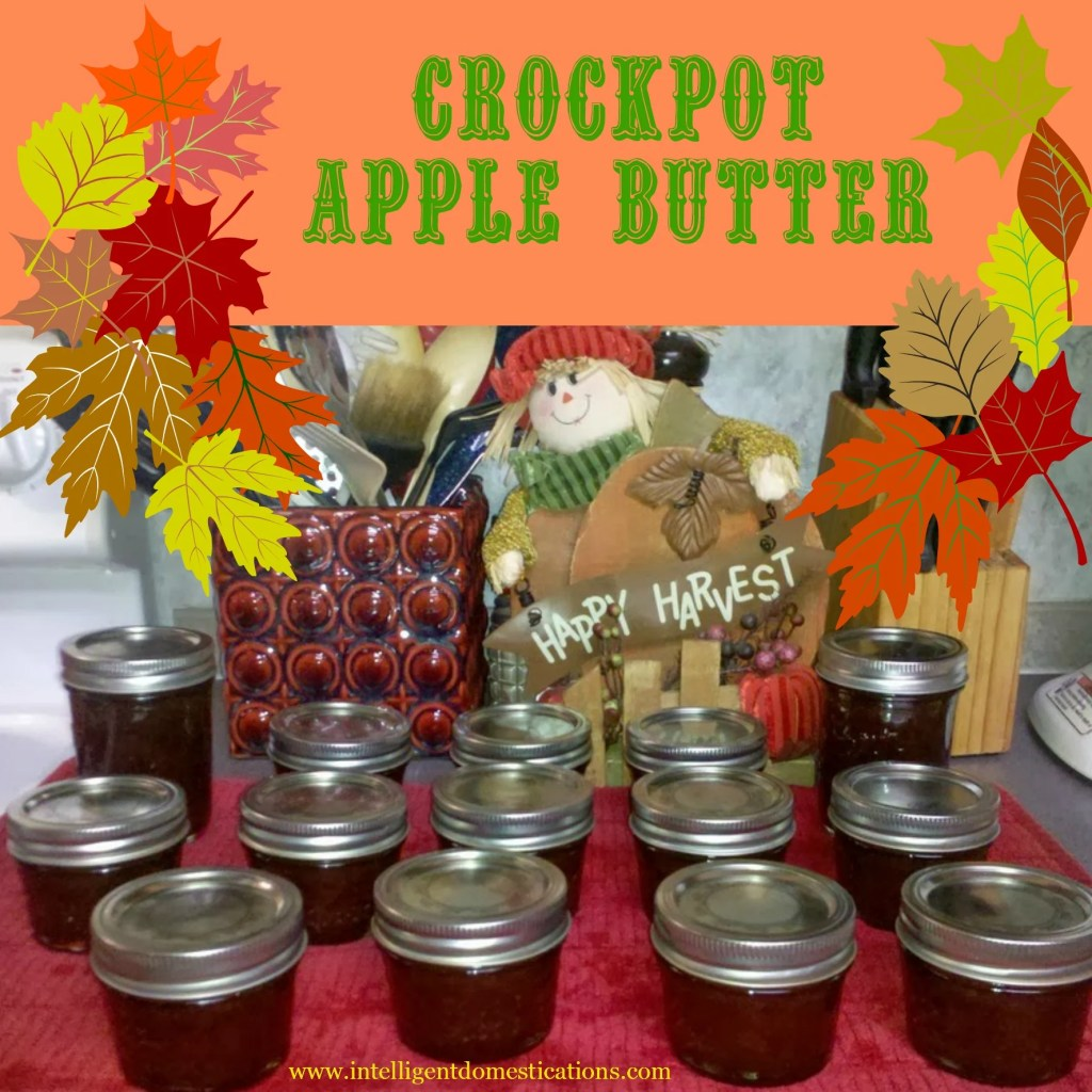 Crockpot Apple Butter freshly canned and ready for gifting. Recipe and instructions at www.intelligentdomestications.com