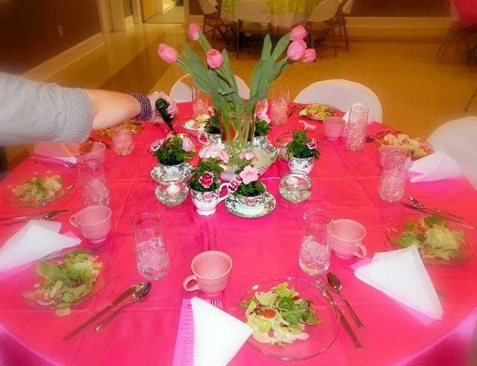 Womens ministry event tablescape ideas with Sweet William plants in vintage teacups.intelligentdomestications.com