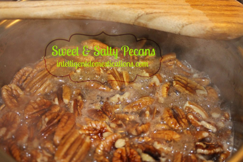 Sweet & Salty Pecans cooking in the syrup.intelligentdomestications.com