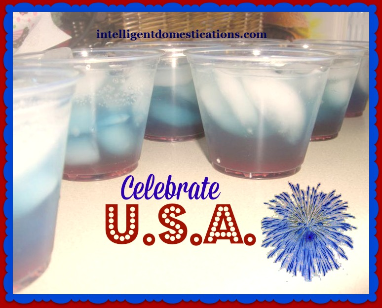 Patriotic Beverage. Cranberry juice on the bottom. Blue Gatorade in the middle and Diet Lemon Lime on the top. (Layer beverages according to most sugar content to least sugar content).intelligentdomestications