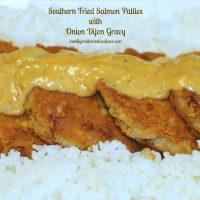 Fried Salmon Patties with Onion Dijon Gravy