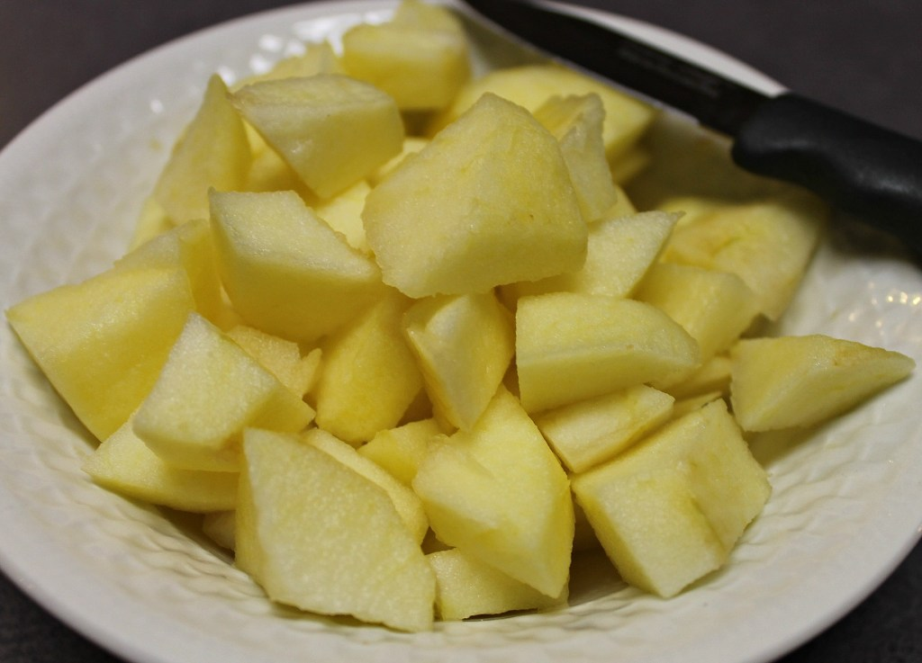 Dice the apple slices for your Upside Down Skillet Caramelized Apple Pecan Biscuits.intelligentdomestications.com