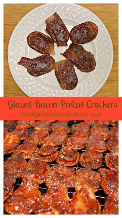 Glazed Bacon Pretzel Cracker are so easy to make. Find the details at intelligentdomestications.com