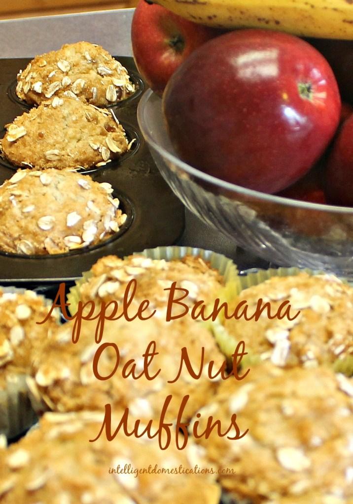 Apple Banana Oat Nut Muffins. Find the recipe at www.intelligentdomestications.com