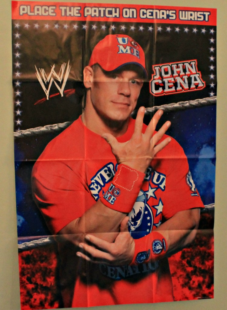 Place the patch on John Cena's wrist band game.