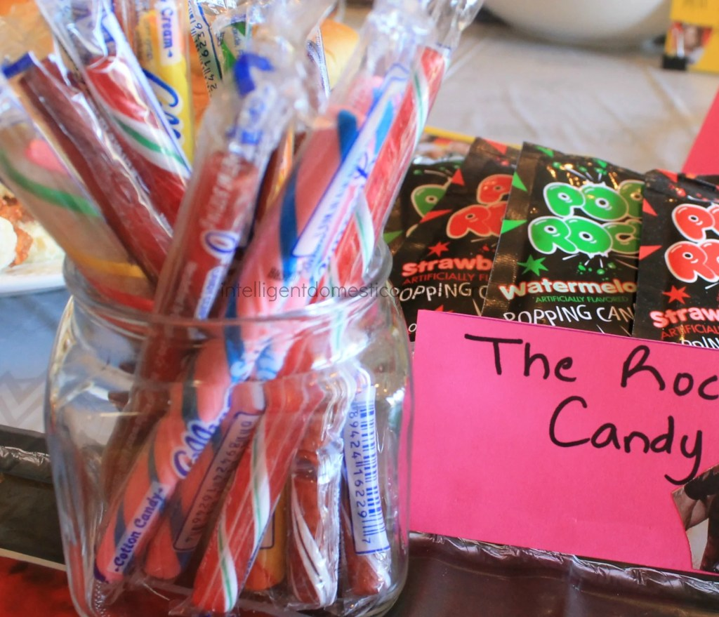 Serve your guests a Rock Candy bar at your WWE Theme party. Ideas at ingelligentdomestications.com