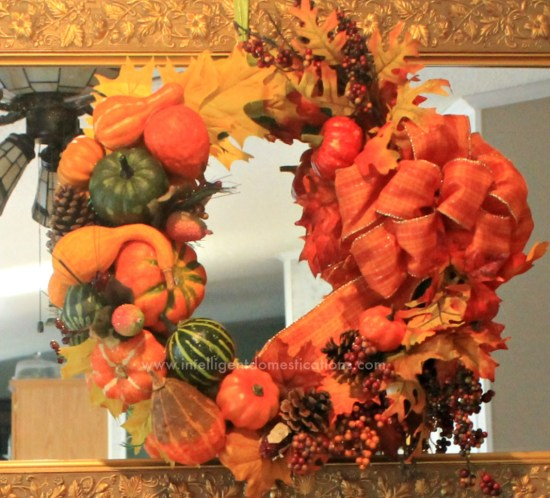 I repurposed some of my fall decor into a pretty Cornucopia Wreath. See how I did it and you can be inspired to repurpose your decor too!