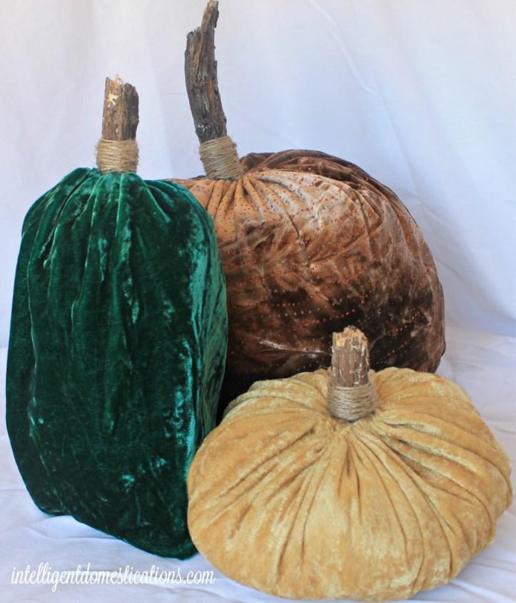 Green. Copper & Gold Velvet Pumpkins 1.intelligentdomestications.com