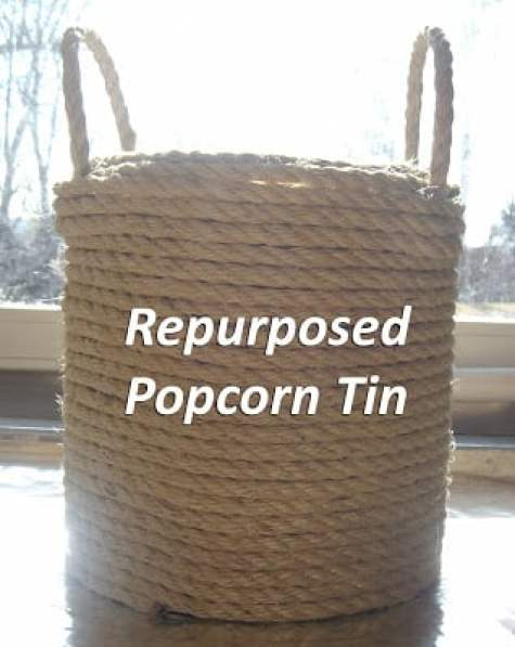 Repurposed popcorn tin sisal rope container at home made in the heartland