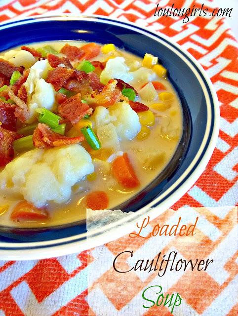 loaded cauliflower soup recipe from Loulougirls.com