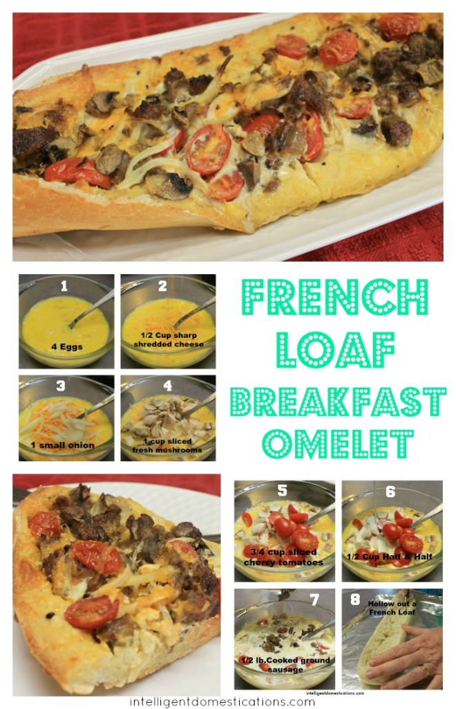 French Loaf Breakfast Omelet recipe at intelligentdomestications.com