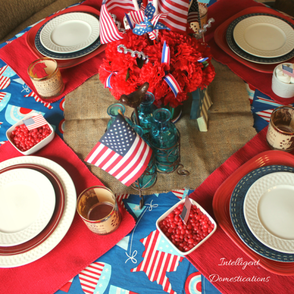 Create your own Simple Patriotic Table Decor by using what you have